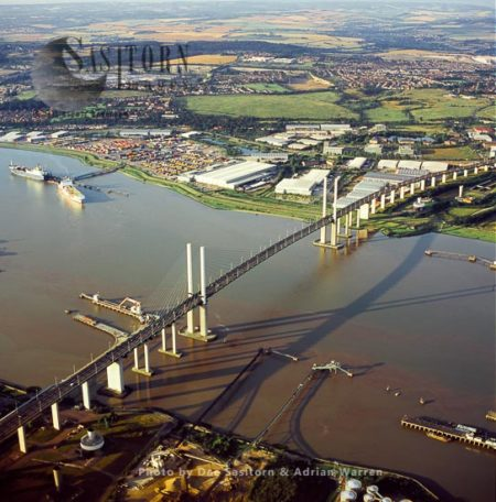 Dartford Crossing, With Cable-stayed Queen Elizabeth II Bridge, Carrying A282 Road Between Dartford And Thurrock Over The Estuary Of The River Thames