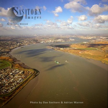 Estuary Of The River Thames Looking West From Purfleet, Essex