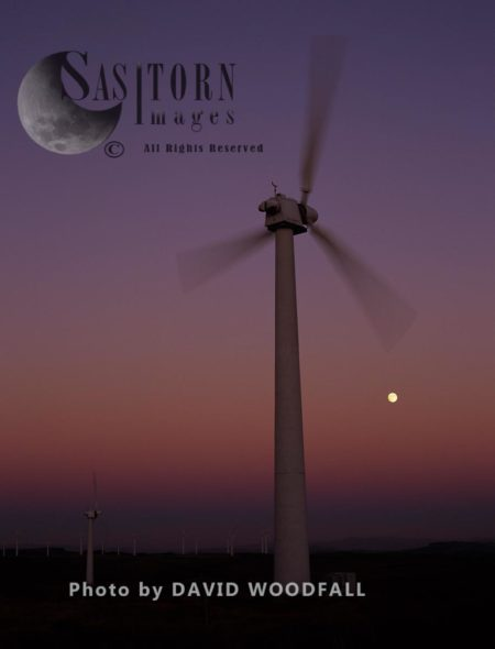 Wind Turbine In Full Moon