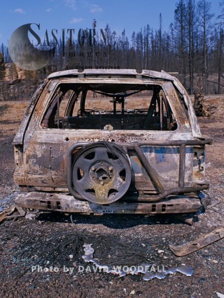 Burnt Out Car Caught In Wildfire, Yellowstone