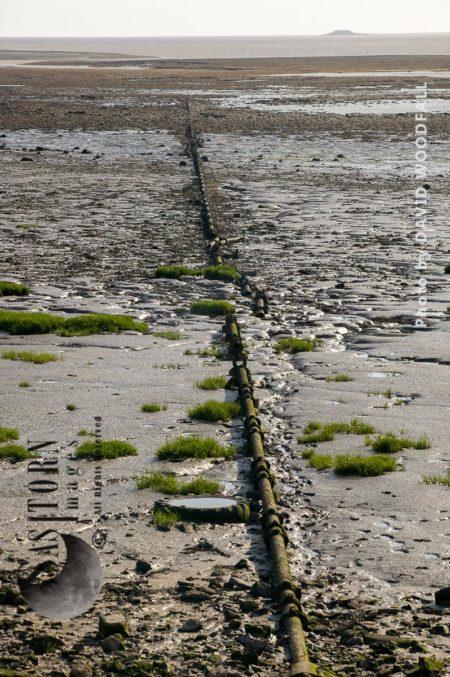 Old Sewage Pipe Across Mud Flats On Severn Estuary
