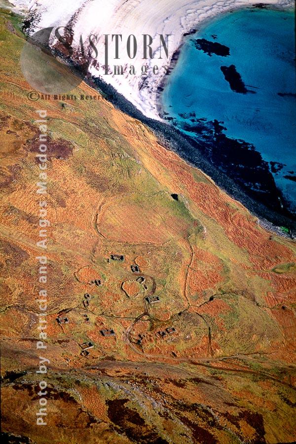 Overhead The Remains Of The Cleared Baile (hamlet) Of Inibheagh/Inivea, North Of Calgaraidh/Calgary, An T-Eilean Muileach/the Island Of Mull, Inner Hebrides, Scotland.