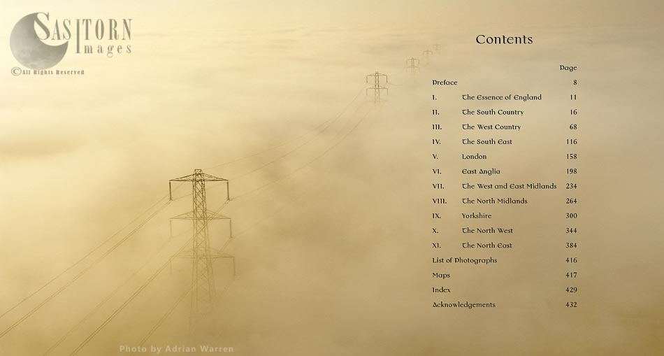 Mist over the Somerset Levels, England: An Aerial View with pylons, England: An Aerial View