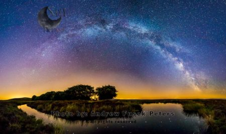 Milky Way Panorama, Pole Cottage Bog Pool, Long Mynd