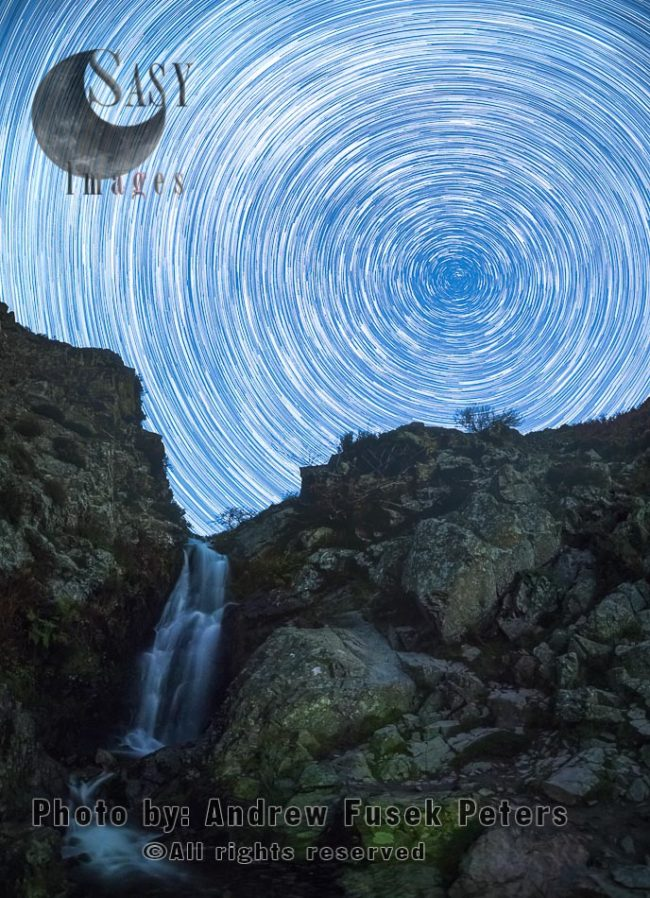 Star Trails At Lightspout Waterfall, Long Mynd