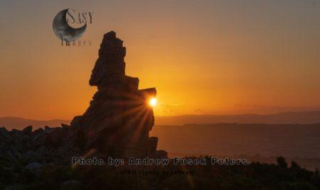 Sunset At Manstone Rock, Stiperstones, Shropshire