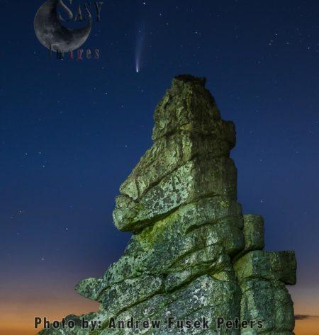 Comet Neowise At Manstone Rock, Stiperstones, Shropshire