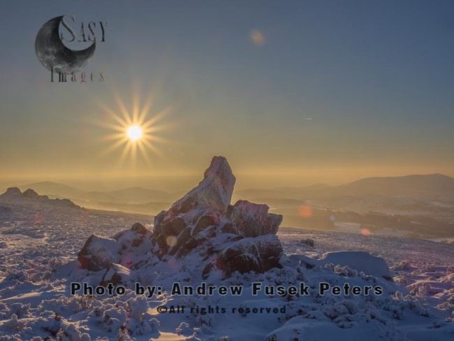 Sunset At Diamond Rock With Snow Stiperstones