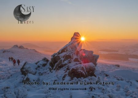 Sunset At Diamond Rock With Snow, Stiperstones, Shropshire